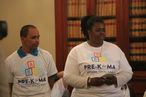 Parents Ursula Allston-Hill and Armando Perez at the Pre-K for MA launch.