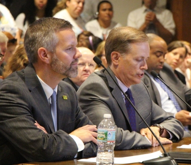 Massachusetts' Commissioner of Early Education Tom Weber and Secretary of Education Jim Peyser testifying at the State House. Photo: Alyssa Haywoode for Strategies for Children