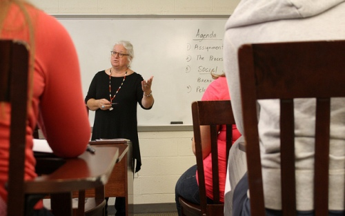 Patricia Hnatiuk teaching at Wheelock College.  Photo: Alessandra Hartkopf for Strategies for Children