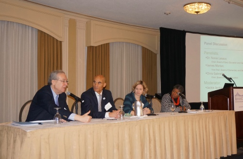 Chris Gabrieli, James Morton, Nonie Lesaux, Jackie Jenkins-Scott. Photo: Rennie Center for Education Research & Policy