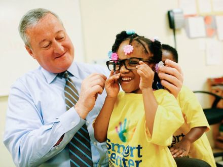 "Photo: ""At Smart Center pre-K today, it turned out my glasses weren't quite the perfect fit..."" Mayor Kenney's Facebook page"